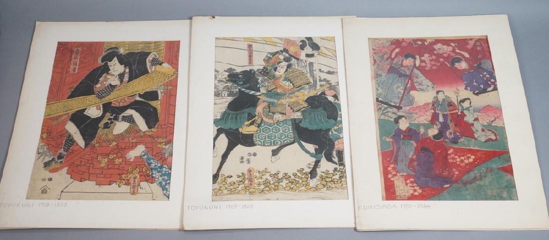 3 Japanese Wood Block Prints. 1) TOYO KUNI Samura