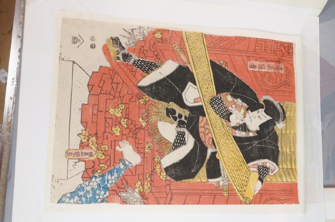 3 Japanese Wood Block Prints. 1) TOYO KUNI Samura - 2