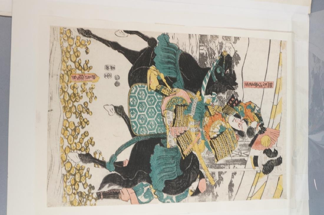 3 Japanese Wood Block Prints. 1) TOYO KUNI Samura - 3