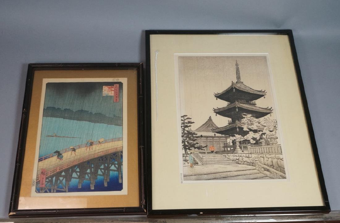 2 Framed Japanese Wood Block Prints. 1) Figures w
