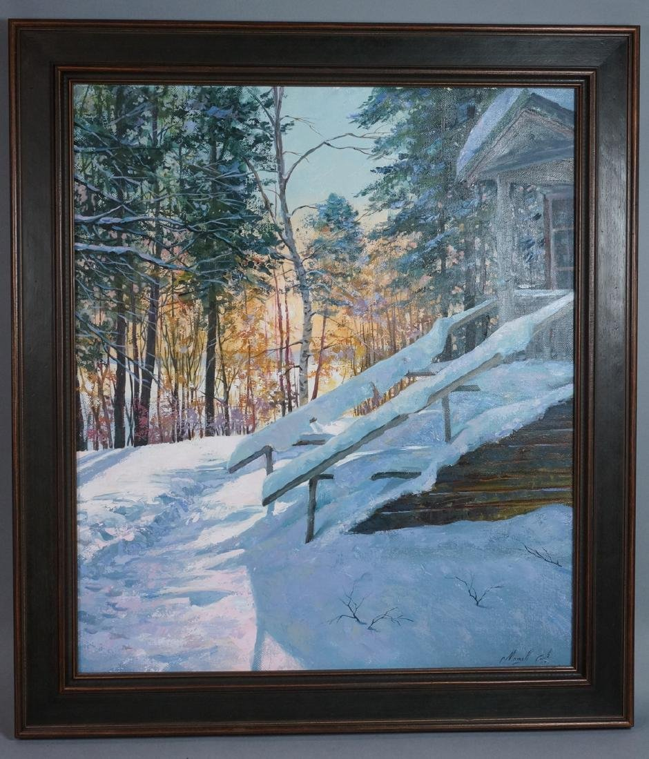 Signed Winter Landscape Oil Painting. Snowy steps