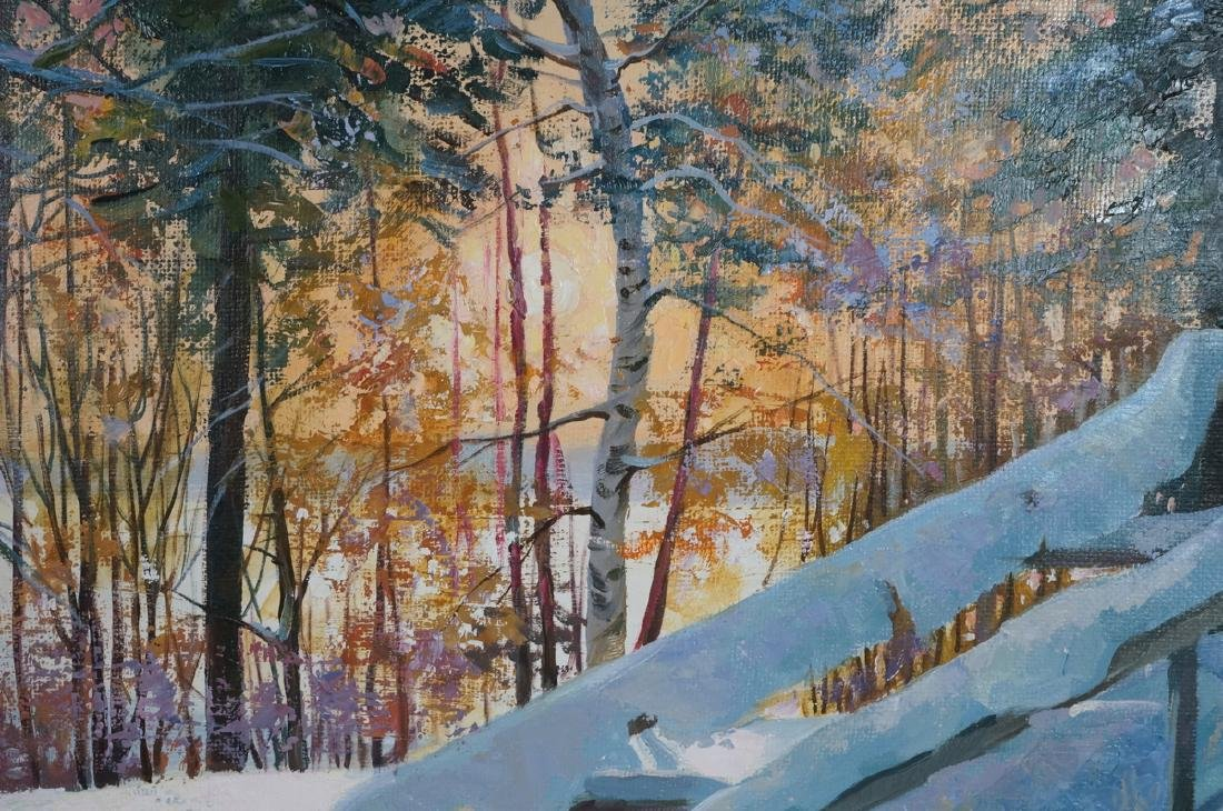 Signed Winter Landscape Oil Painting. Snowy steps - 4