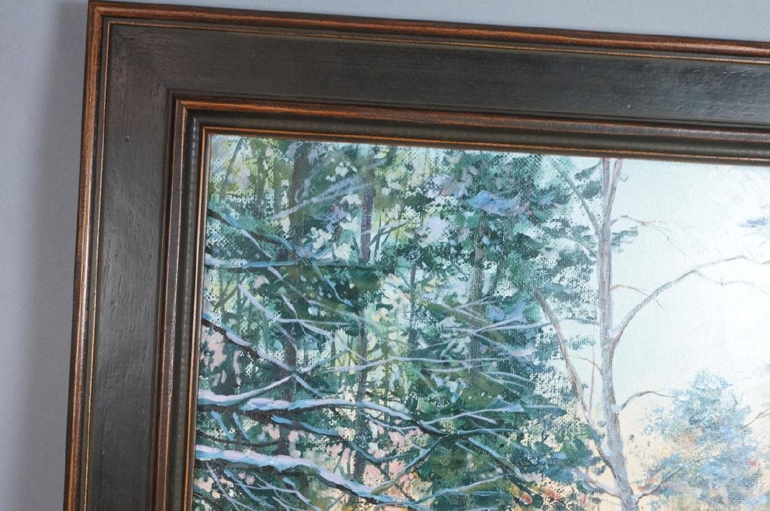 Signed Winter Landscape Oil Painting. Snowy steps - 6