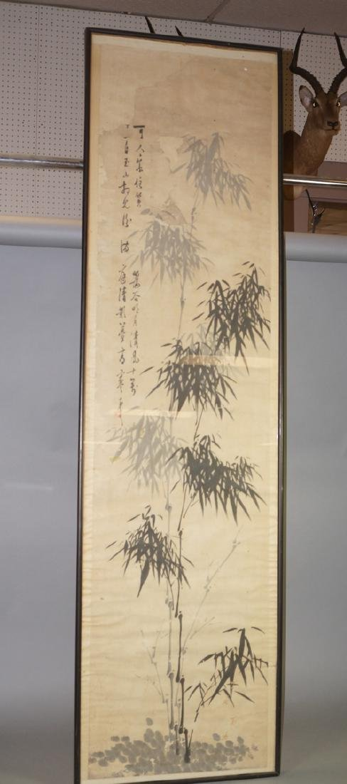 Framed Chinese Scroll Gray & White Bamboo Signed.