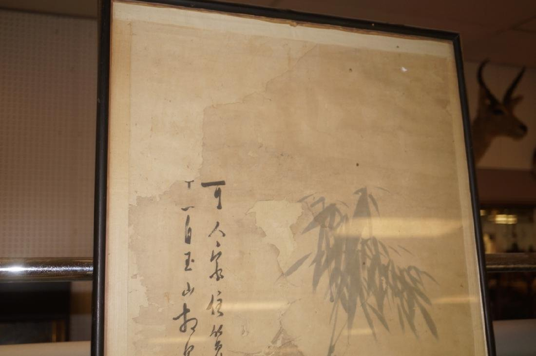 Framed Chinese Scroll Gray & White Bamboo Signed. - 3