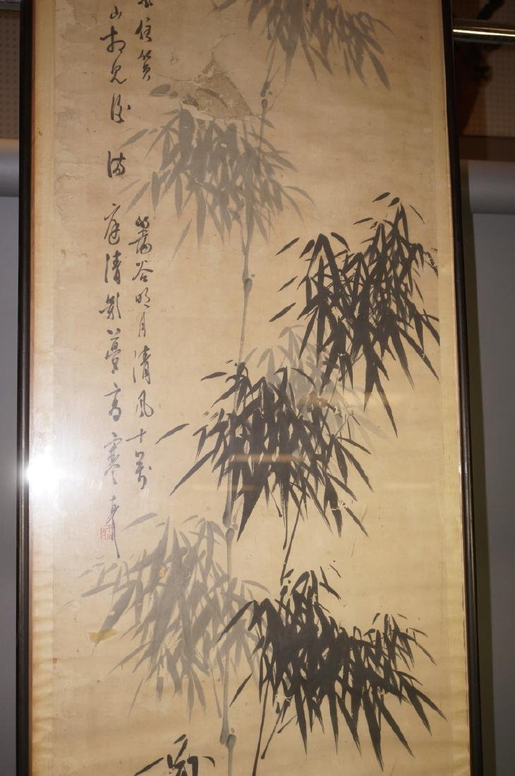 Framed Chinese Scroll Gray & White Bamboo Signed. - 4