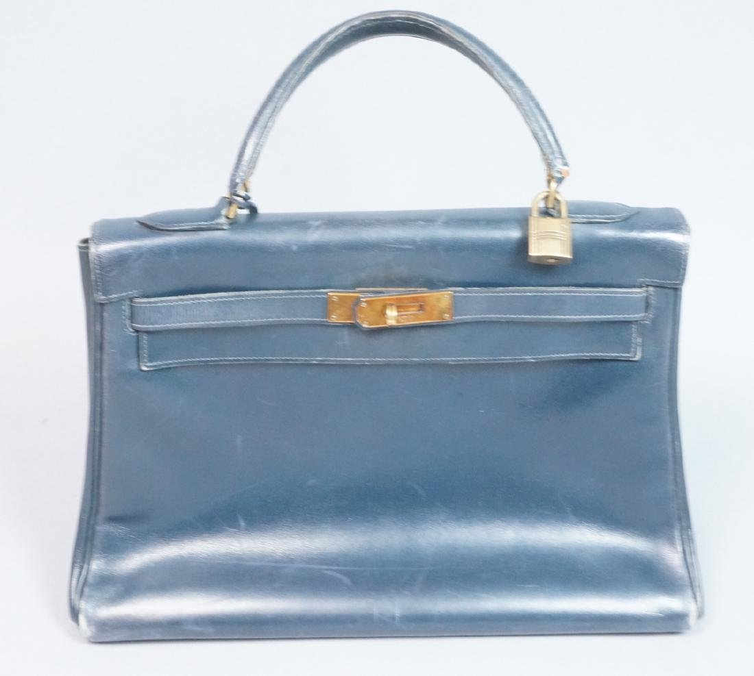 HERMES Paris Blue Leather Handbag Purse. Interior