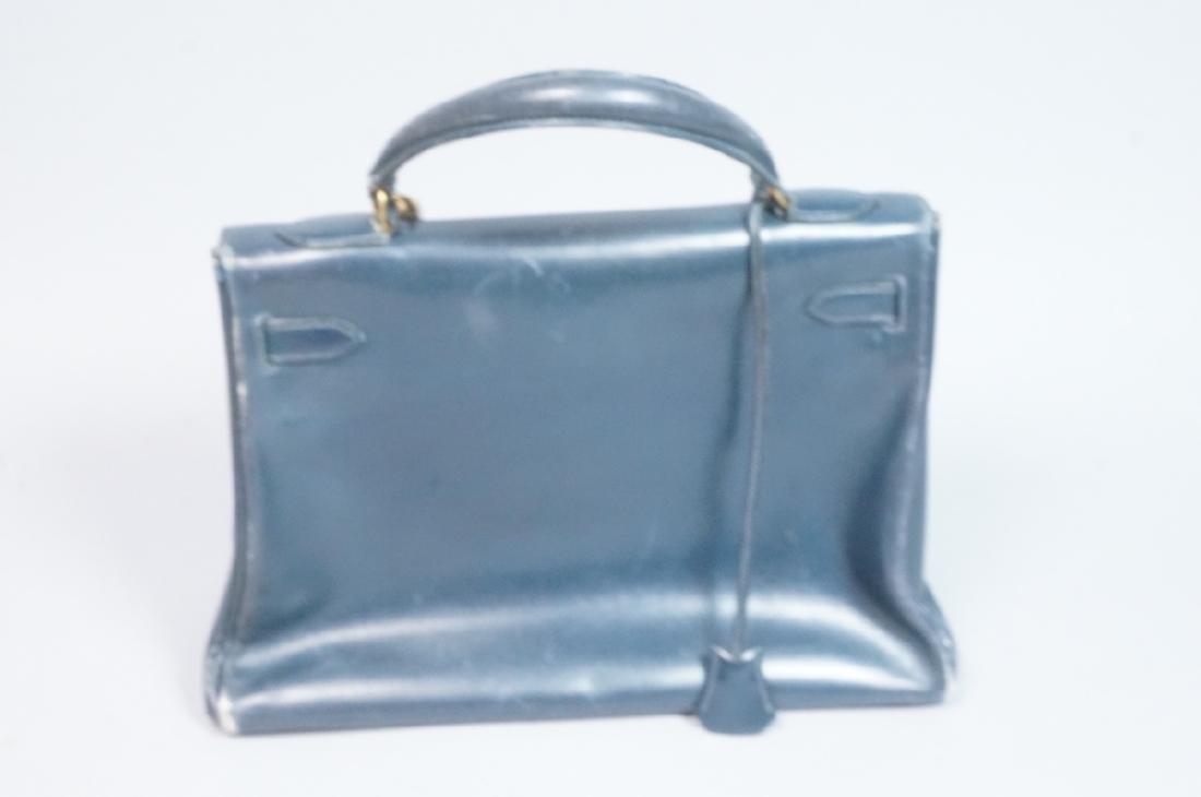 HERMES Paris Blue Leather Handbag Purse. Interior - 2