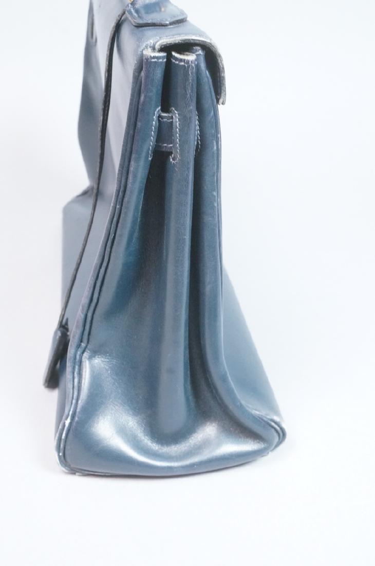 HERMES Paris Blue Leather Handbag Purse. Interior - 4