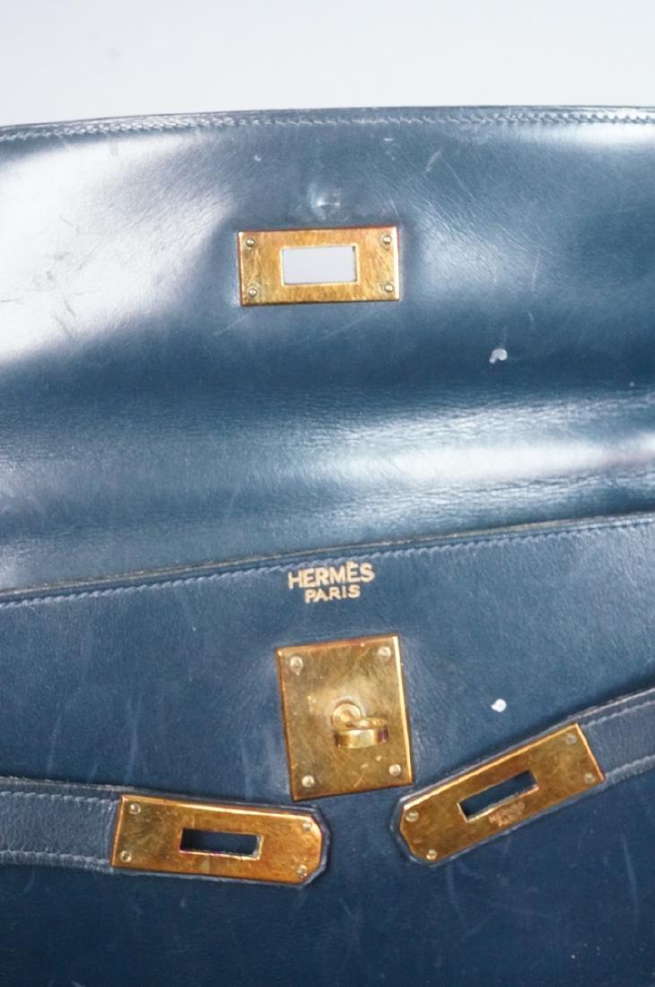 HERMES Paris Blue Leather Handbag Purse. Interior - 6