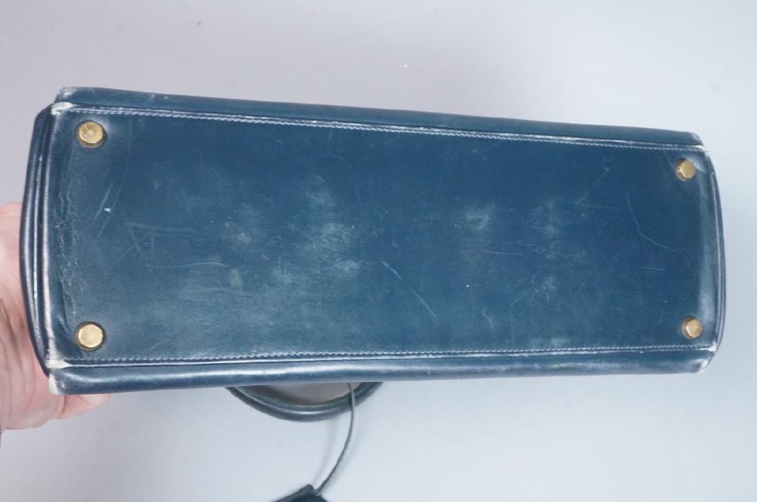 HERMES Paris Blue Leather Handbag Purse. Interior - 8