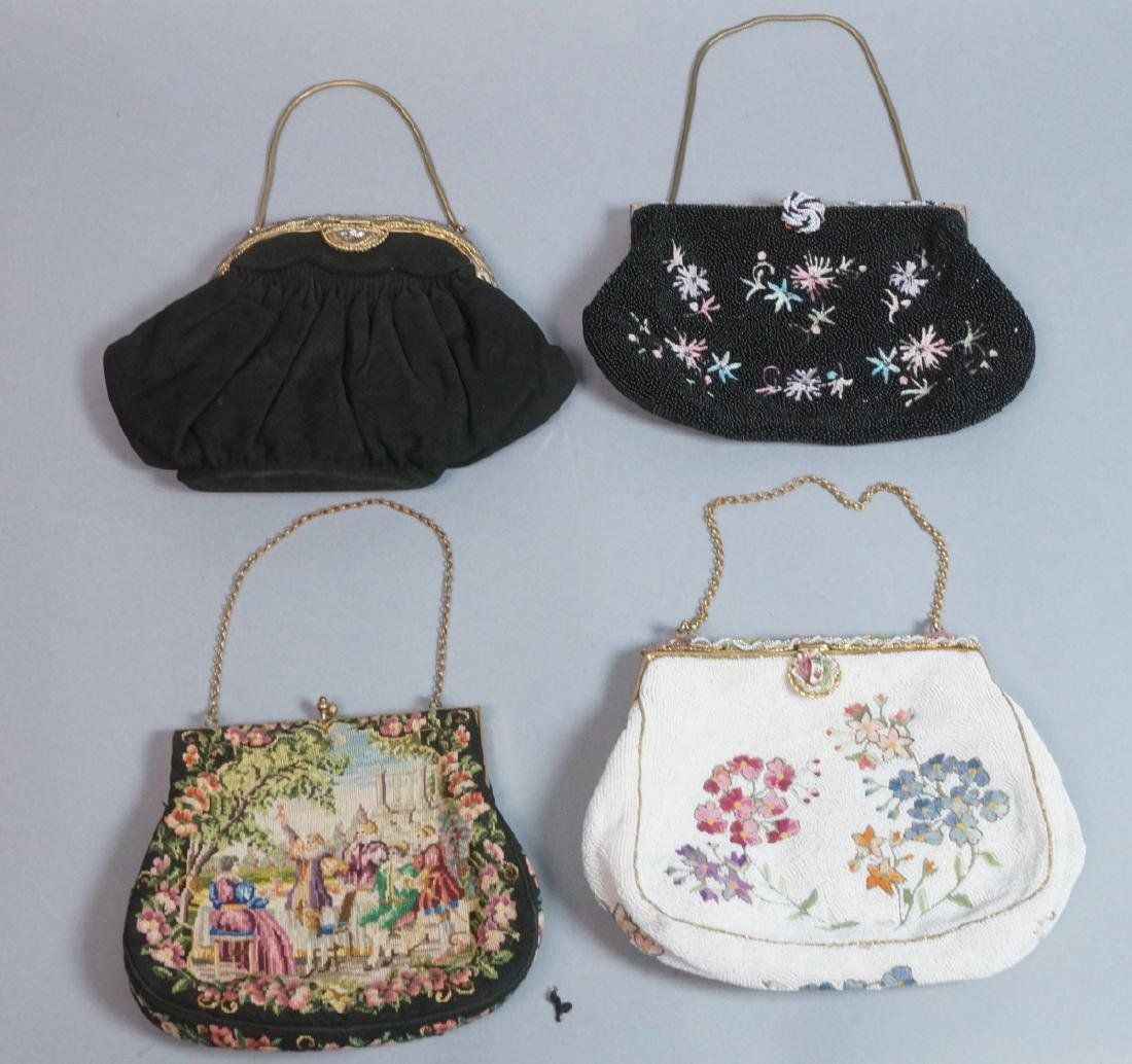 4 Vintage Evening Bags Purses. 2 seed bead and em