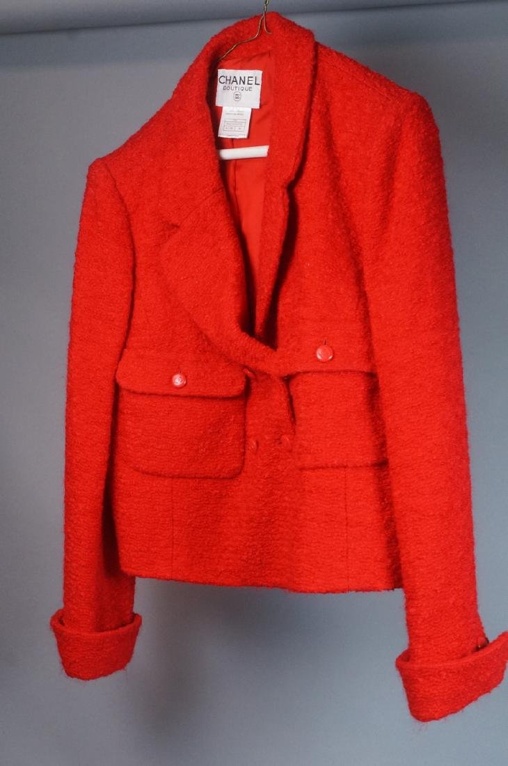 Vintage Authentic CHANEL BOUTIQUE Red Wool Jacket
