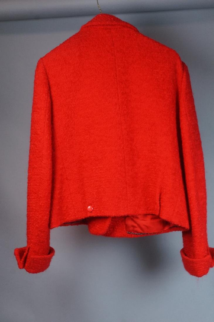 Vintage Authentic CHANEL BOUTIQUE Red Wool Jacket - 5