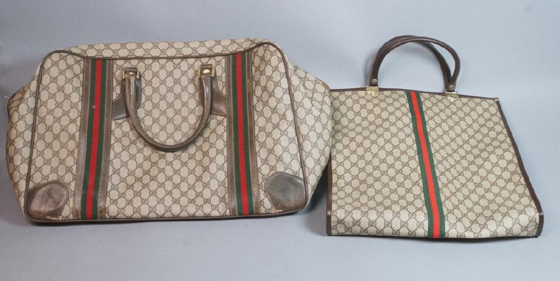 2 pc GUCCI Logo Bag Suitcase. Two strap handles s