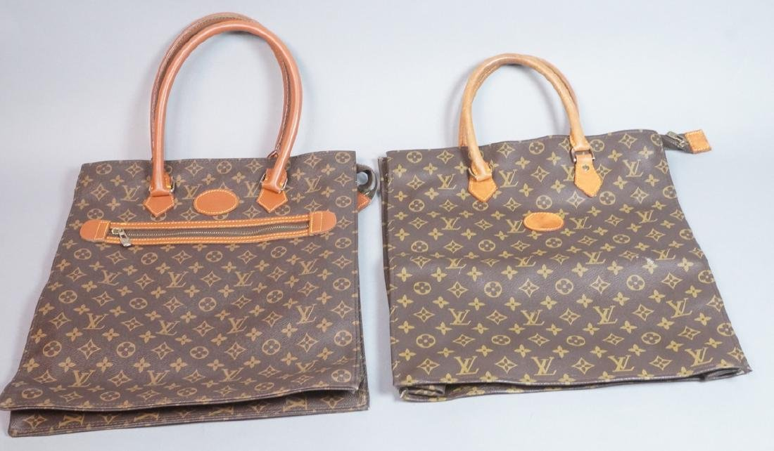 2 LOUIS VUITTON French Tote Bags. One with hand l