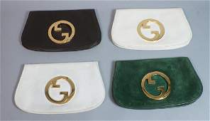 4 GUCCI Italian Leather Clutches All gold tone d