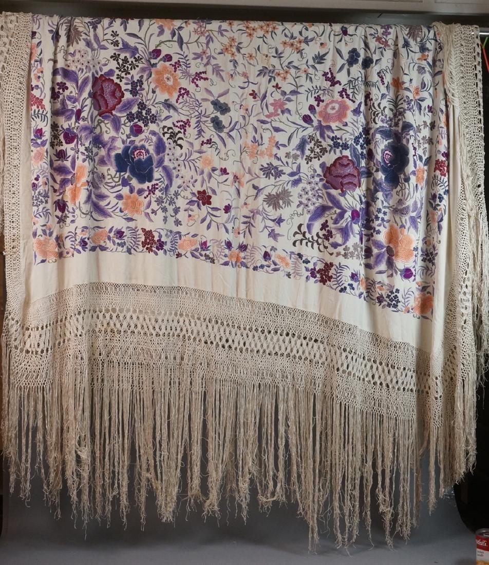 """Cream Silk Colorful Embroidered Piano Shawl. 82"""""""