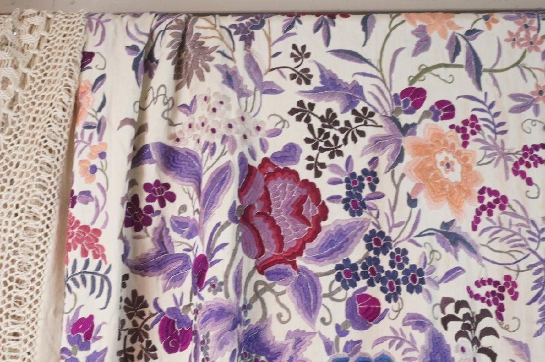 """Cream Silk Colorful Embroidered Piano Shawl. 82"""" - 2"""