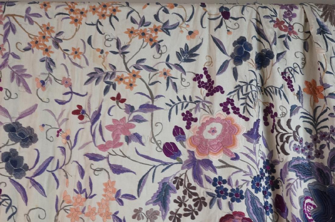 """Cream Silk Colorful Embroidered Piano Shawl. 82"""" - 3"""