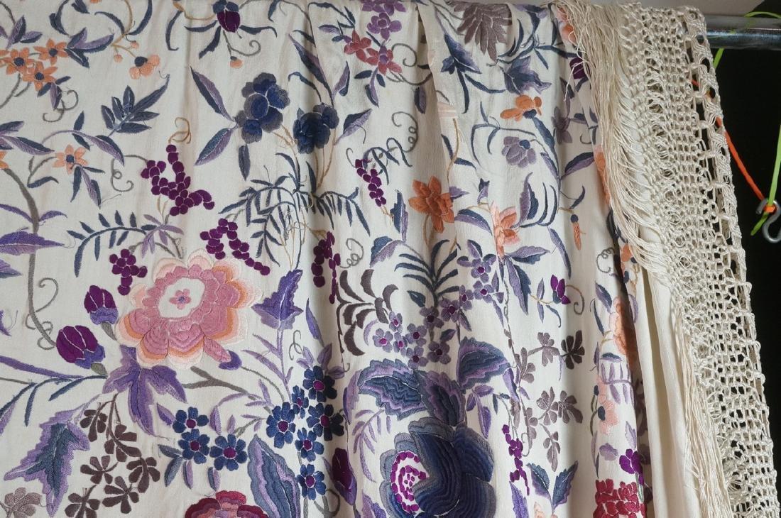 """Cream Silk Colorful Embroidered Piano Shawl. 82"""" - 4"""
