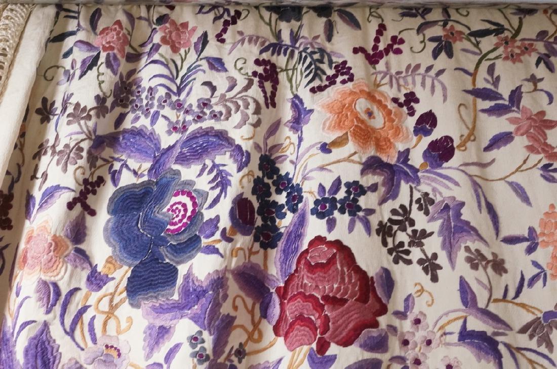 """Cream Silk Colorful Embroidered Piano Shawl. 82"""" - 9"""