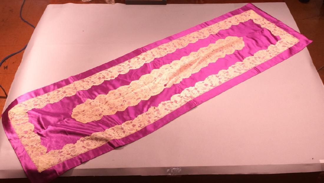 Exquisite Fine handmade lace trim border on brigh