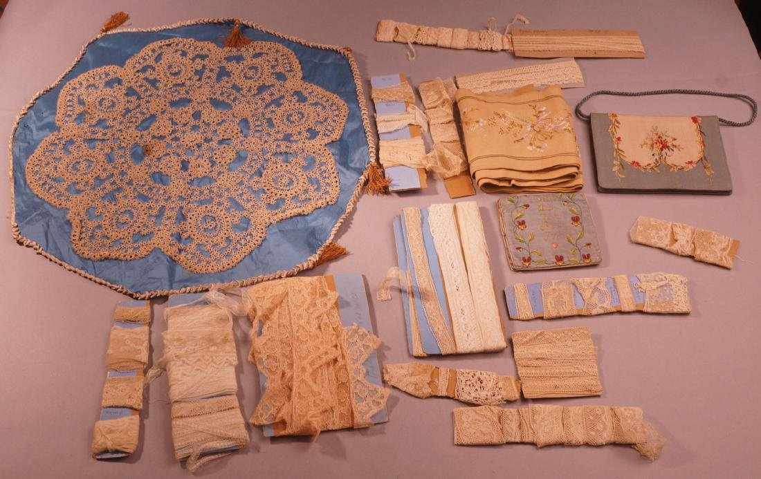 Lot of vintage lace & textiles. Beautiful woven L