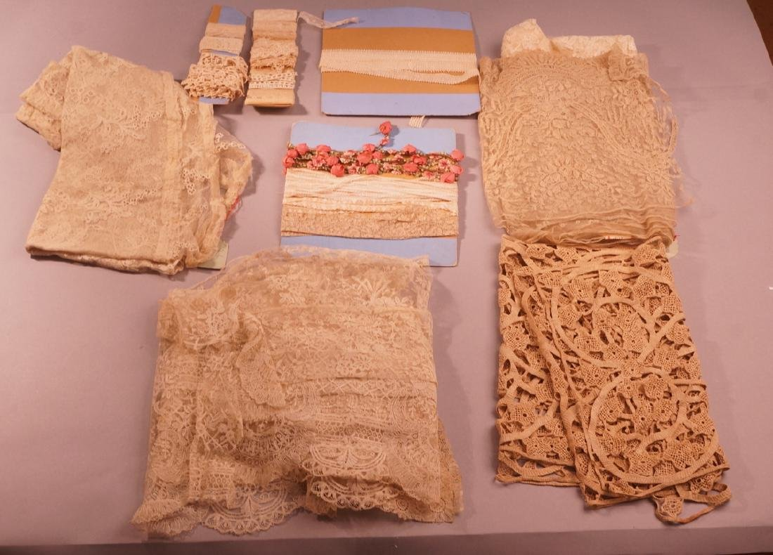 Lot of Vintage & Antique Lace. 1). Long crocheted