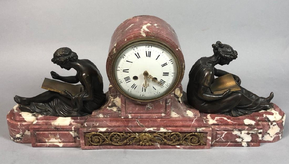 French Marble and Bronze Clock with Seated Figure