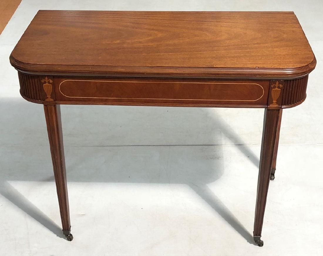 Antique Sheraton Style Flip Top Game Table.  Exte
