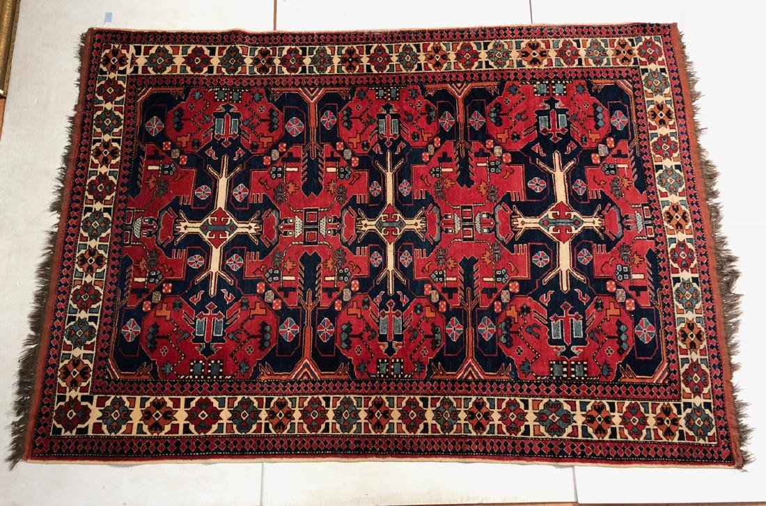 9 x 6.5 Handmade Oriental Carpet with Geometric p
