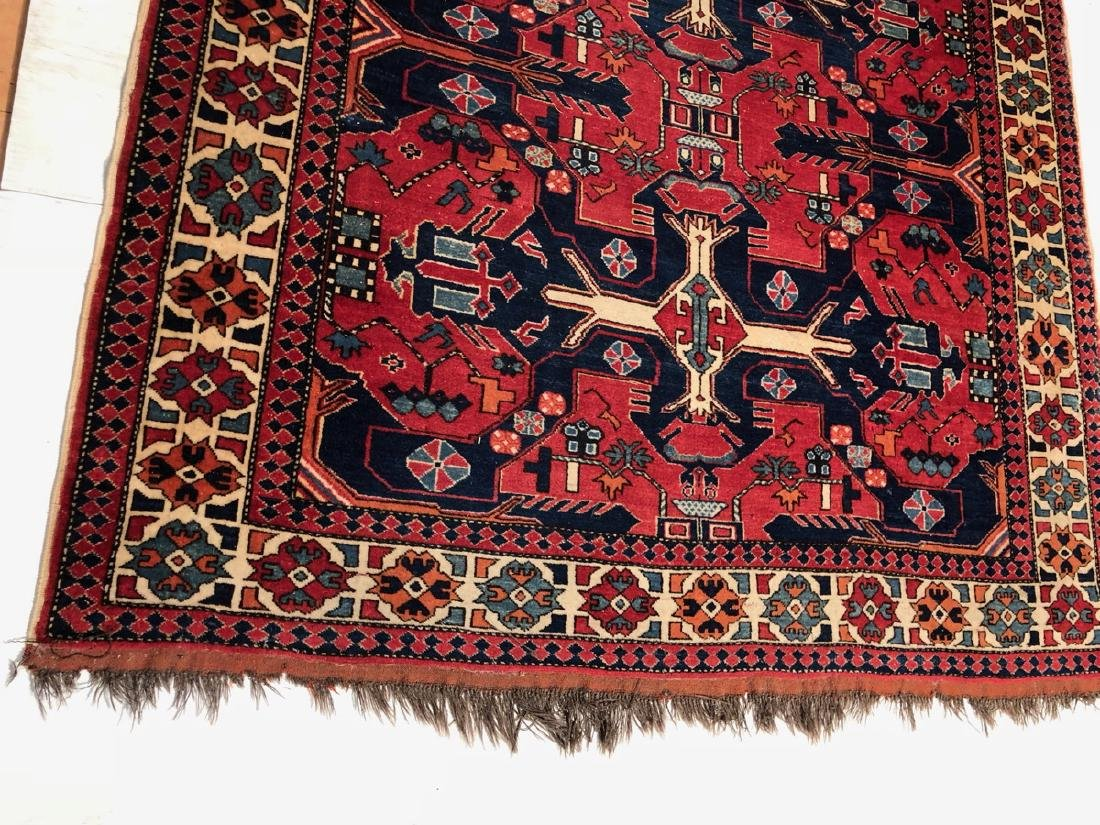 9 x 6.5 Handmade Oriental Carpet with Geometric p - 4