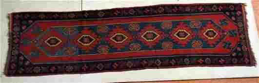 109 x 3 Handmade Runner Oriental Carpet Rug Geo