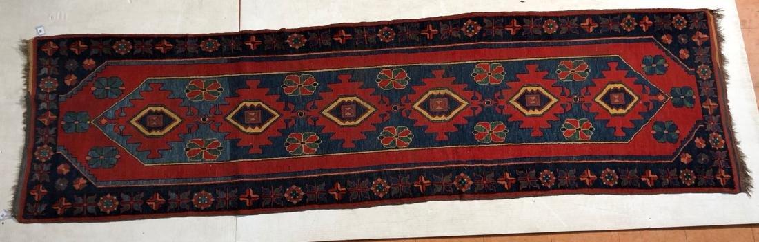 10'9 x 3 Handmade Runner Oriental Carpet Rug. Geo