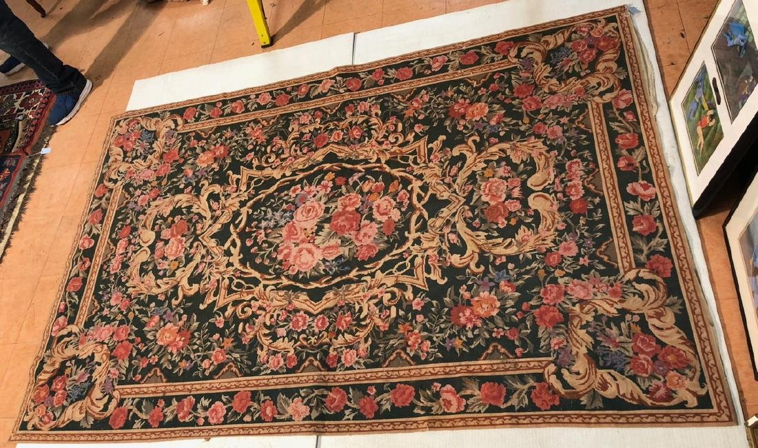 8 x 5'3 Needlepoint Carpet Backed. Roses with gre