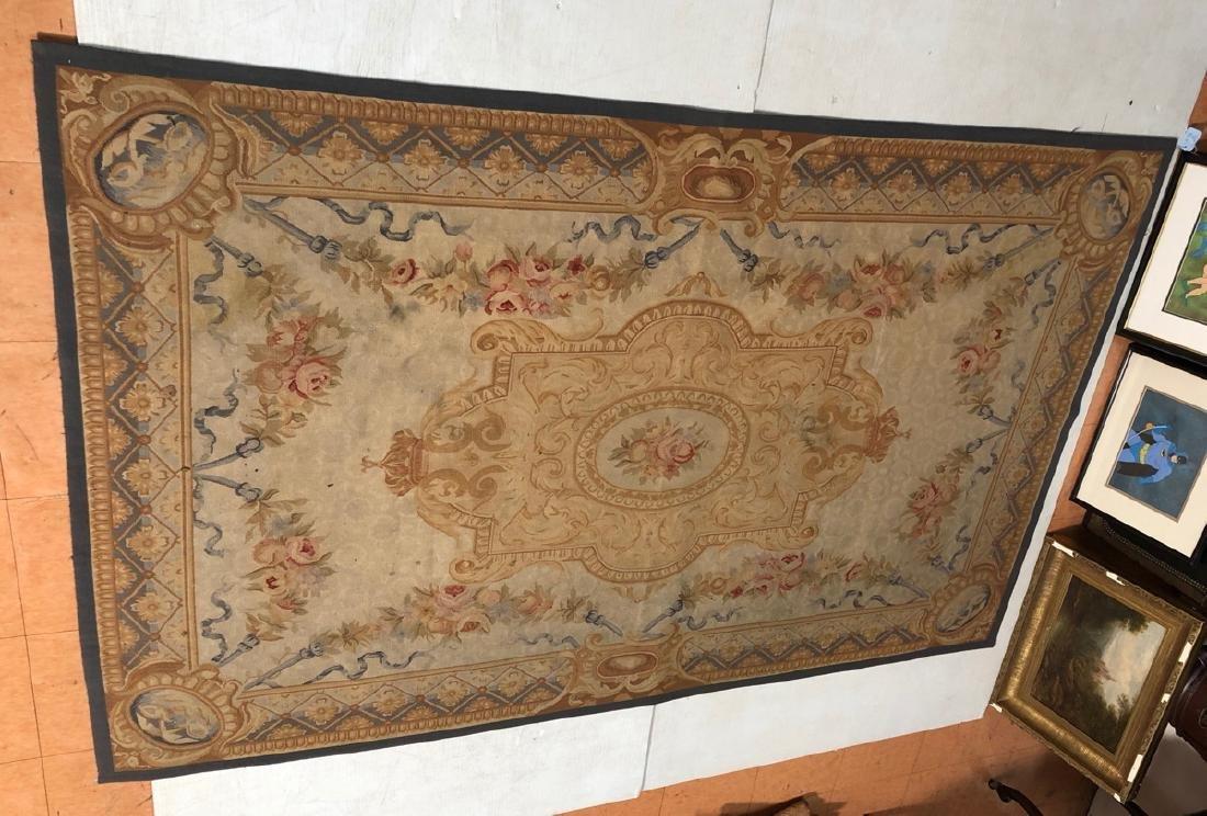 8'2 x 5'11 Aubusson Style Carpet Rug. Center Meda