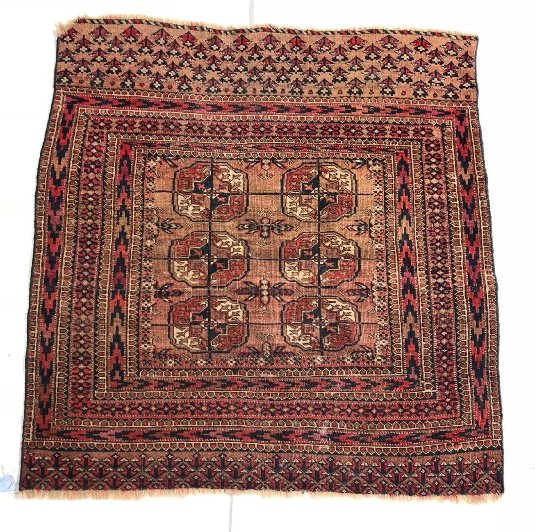 4'6 x 3'4 Handmade Oriental Mat Carpet Rug.  Geom