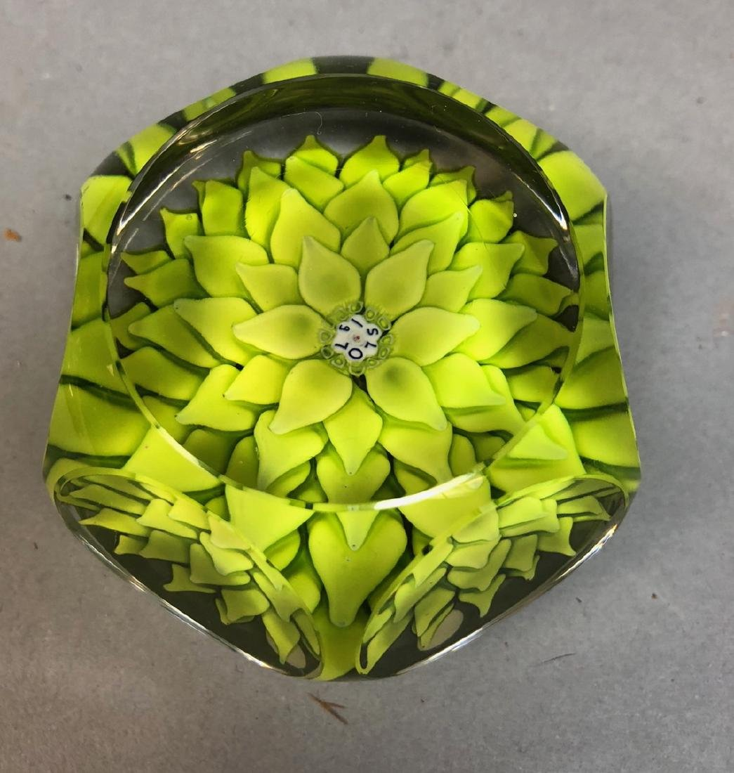 Saint Louis Paperweight.  Green Leaf Design. Sign