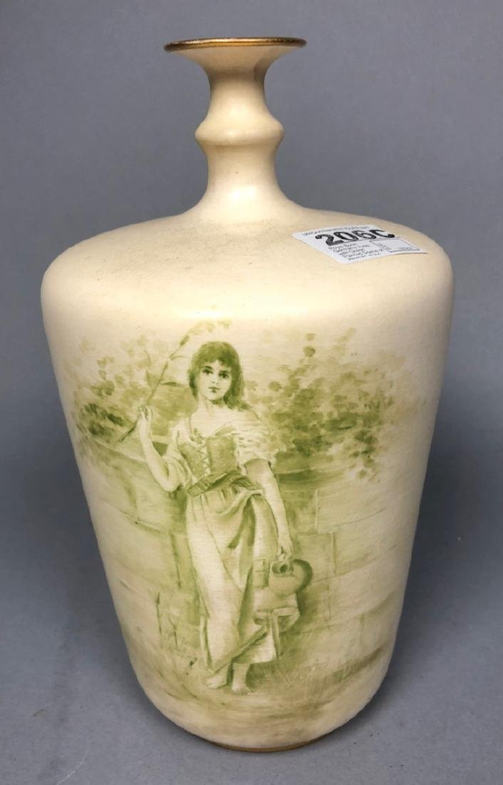 Royal Bonn Germany Vase with Green Painted Scene