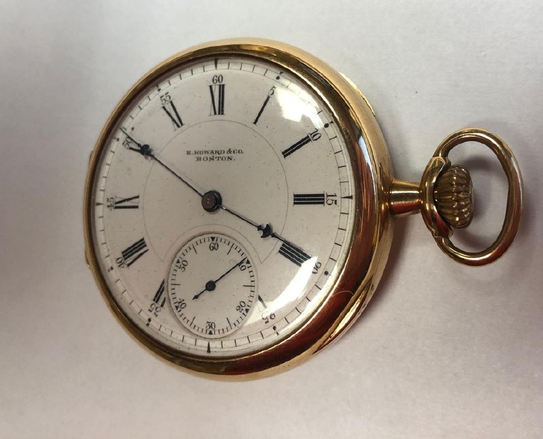 E HOWARD & Co 14K Gold Pocket watch with open fac