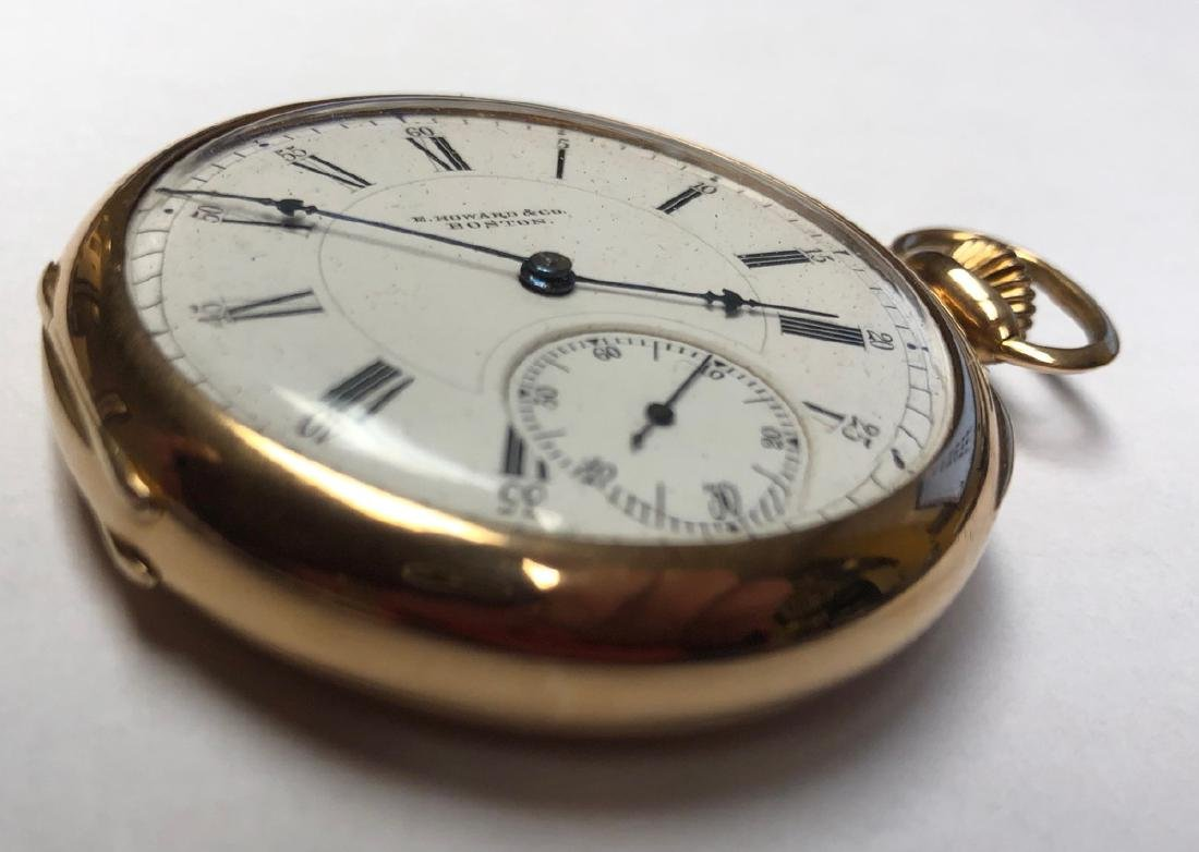 E HOWARD & Co 14K Gold Pocket watch with open fac - 2