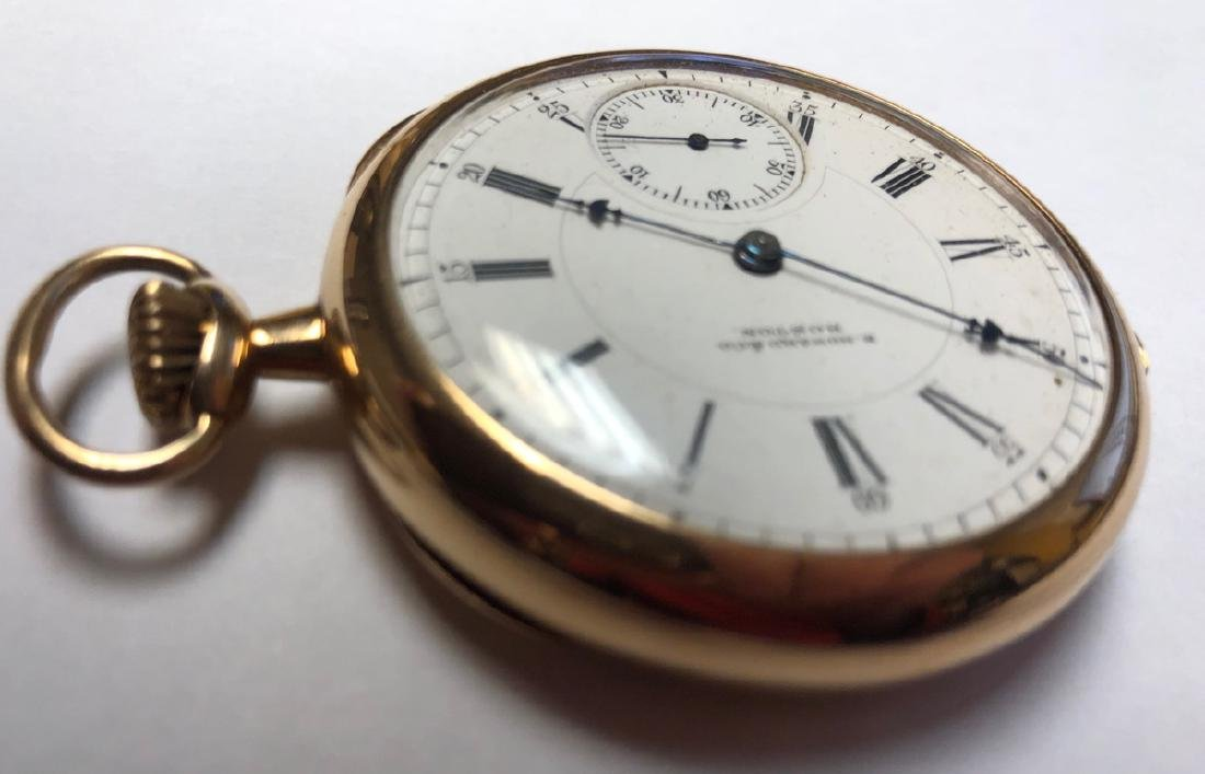 E HOWARD & Co 14K Gold Pocket watch with open fac - 3