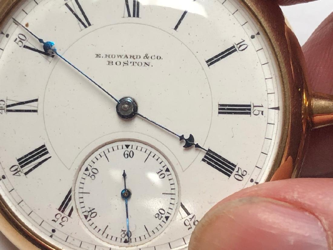 E HOWARD & Co 14K Gold Pocket watch with open fac - 4