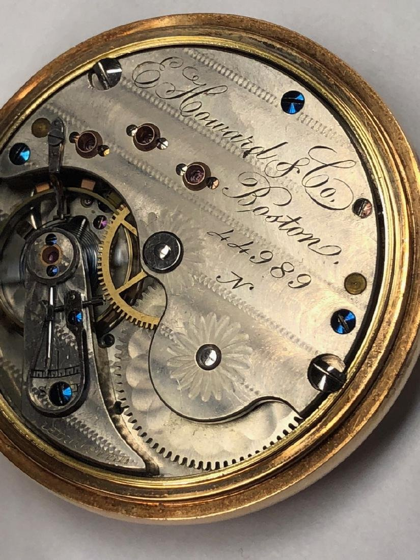 E HOWARD & Co 14K Gold Pocket watch with open fac - 6