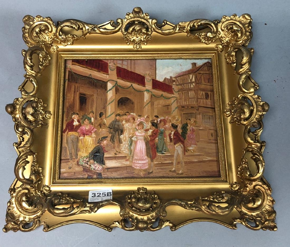 French Genre Oil on Board in Elaborate Gilt Frame