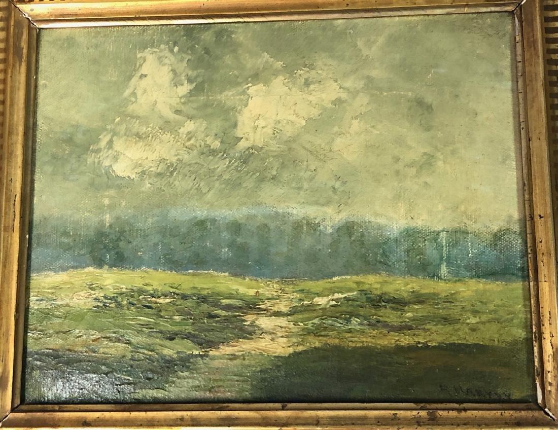 R. Harvey Antique Oil Painting on Canvas.  Plein
