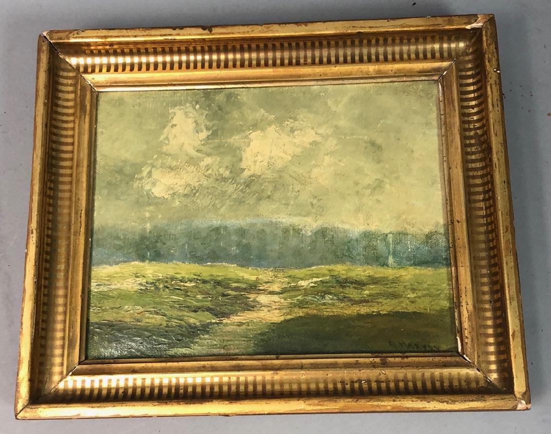 R. Harvey Antique Oil Painting on Canvas.  Plein - 2