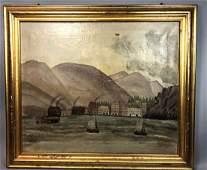 Antique American School Harbor Scene Oil Painting