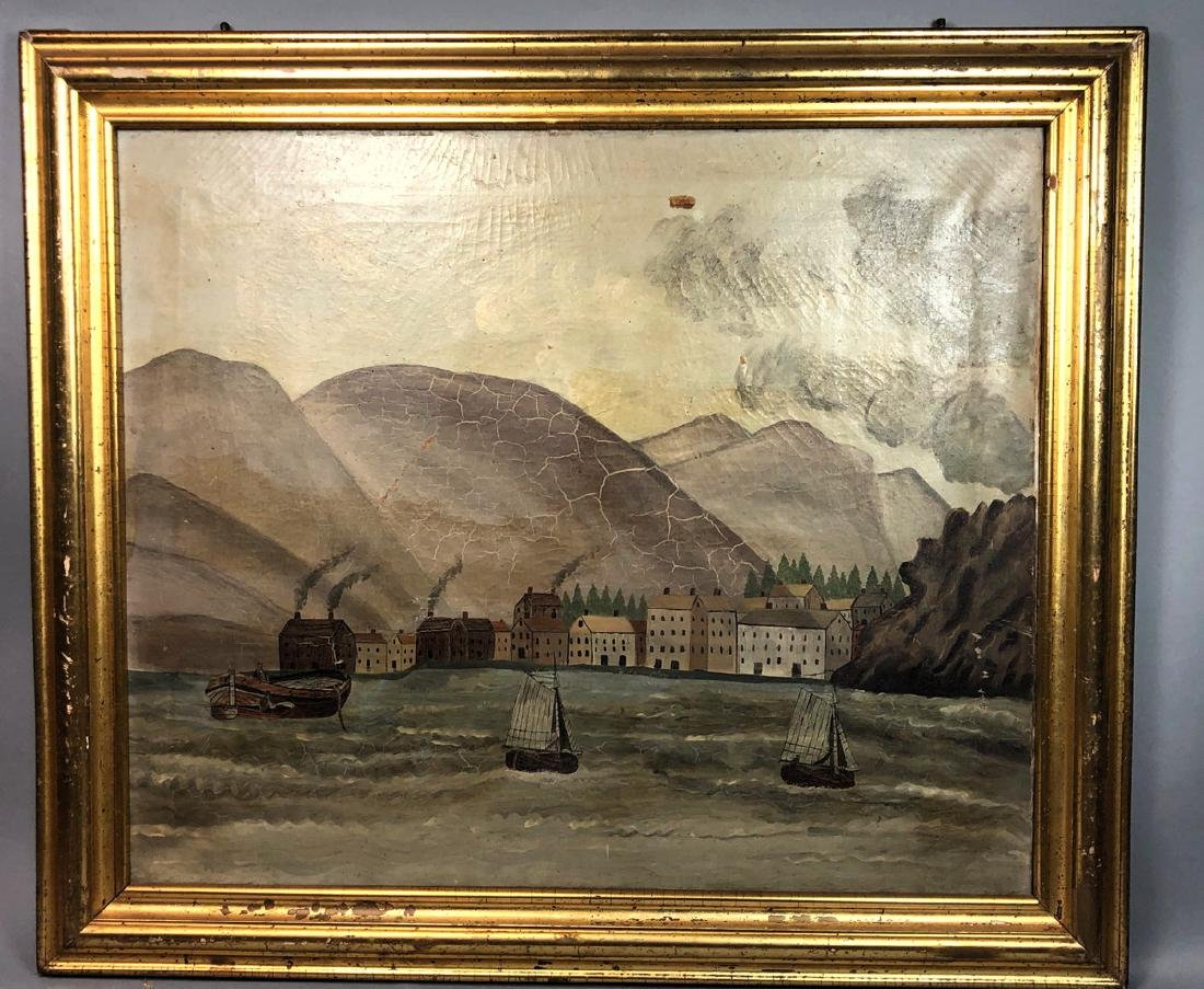 Antique American School Harbor Scene Oil Painting